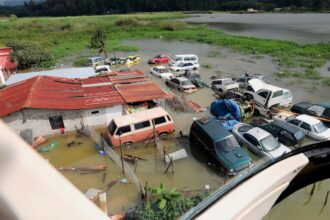 Aerial view of a flooded area in the village of Queja, in San Cristobal Verapaz, Guatemala on Nov. 7, 2020. Credit: Esteban Biba/Pool/AFP via Getty Images