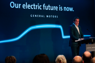 Mark Reuss, General Motors president speaks at their Detroit- Hamtramck assembly plant on Jan. 27, 2020 in Detroit, Michigan. Credit: Jeff Kowalsky/AFP via Getty Images