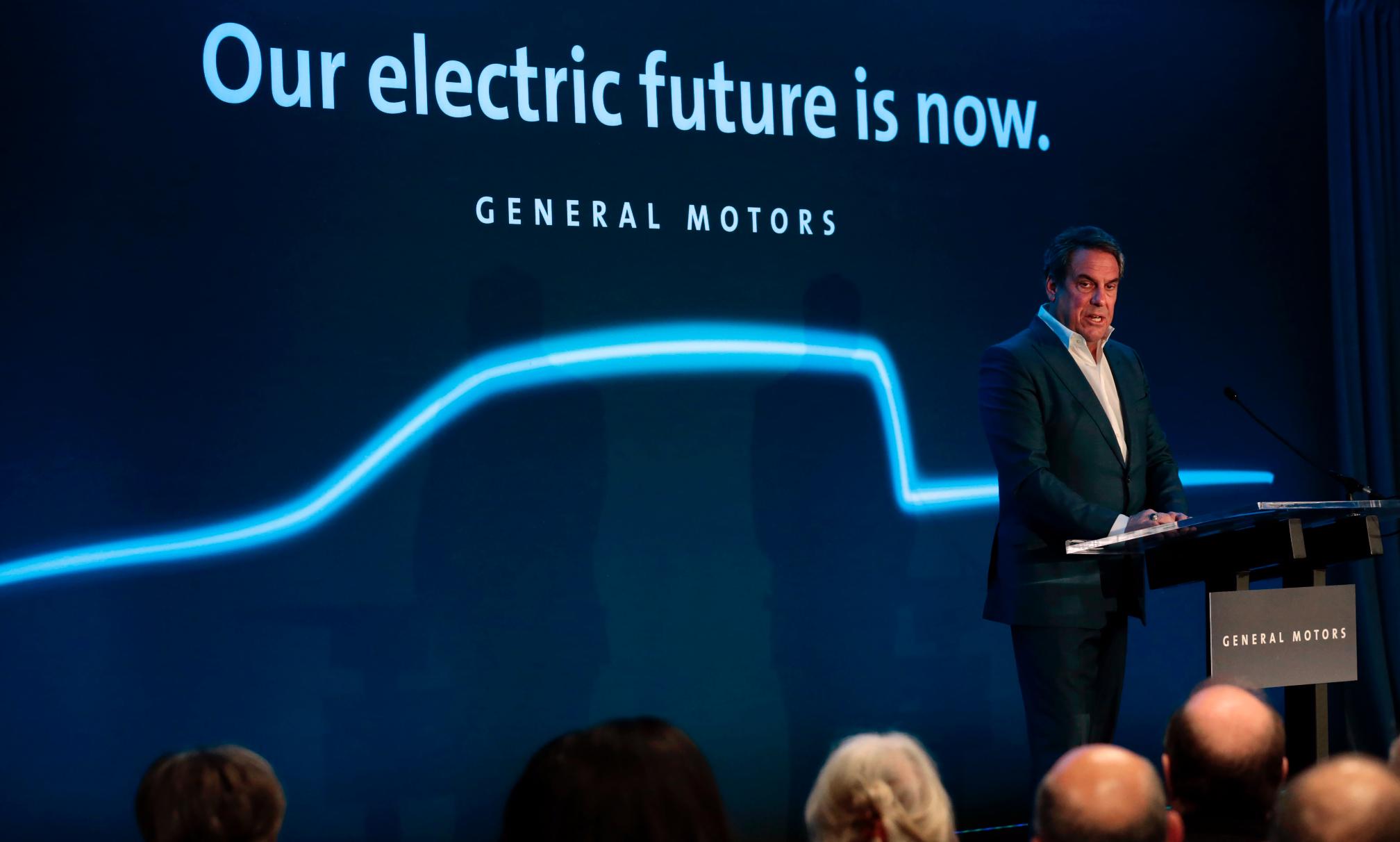 Mark Reuss, General Motors president speaks at their Detroit- Hamtramck assembly plant on Jan. 27, 2020 in Detroit, Michigan. Credit: Jeff Kowalsky/AFP via Getty Images