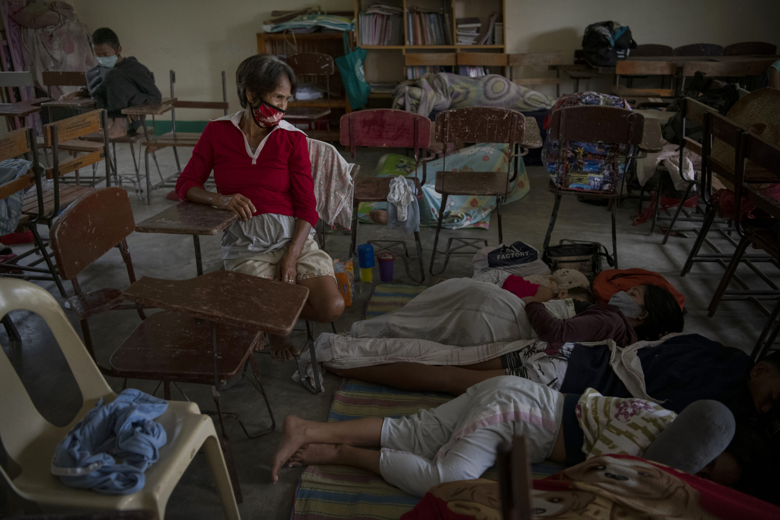 Residents take shelter inside a public school classroom in Tagkawayan, Philippines as typhoon Goni enters the country on Nov. 1, 2020. Super Typhoon Goni made landfall in the Philippines with wind gusts of up to 190 miles per hour. Credit: Jes Aznar/Getty Images