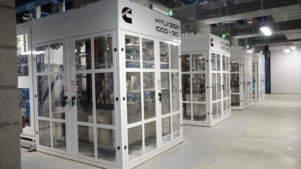 Cummins, the engine manufacturer, produces electrolyzers, shown here, that send an electric current through water to produce hydrogen. Photo Courtesey of Cummins