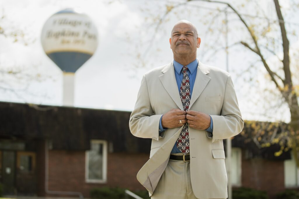 Hopkins Park Mayor Mark Hodge poses for a picture in Hopkins Park, Illinois on April 21, 2021. Credit: Pat Nabong/Sun-Times