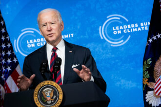 President Joe Biden speaks during climate change virtual summit from the East Room of the White House campus April 22, 2021. Credit: Brendan Smialowski/AFP via Getty Images