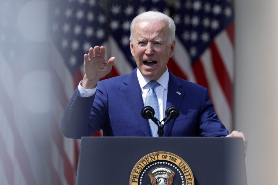 U.S. President Joe Biden speaks in the Rose Garden at the White House on April 8, 2021 in Washington, D.C. Credit: Alex Wong/Getty Images