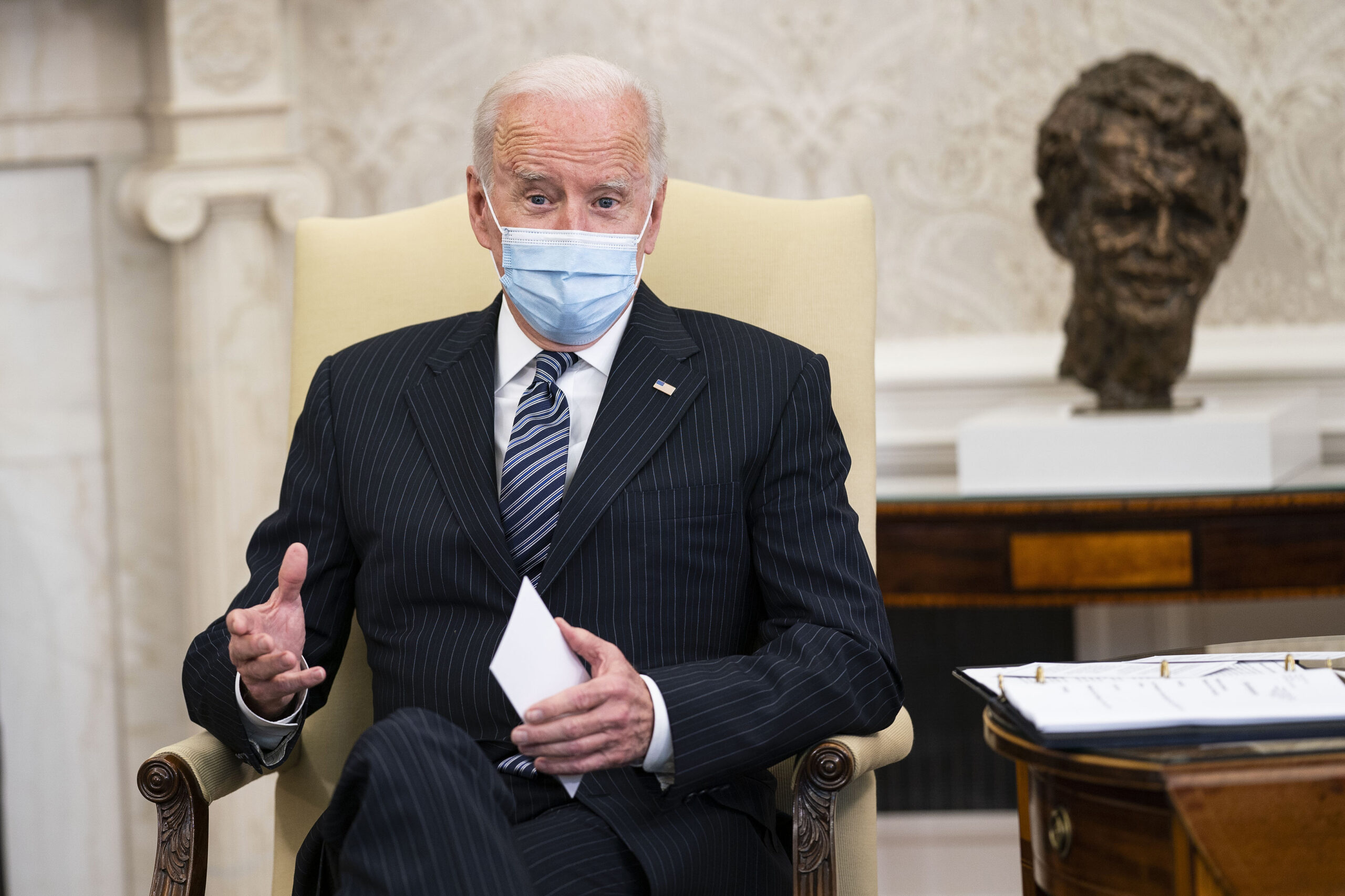 President Joe Biden speaks in the Oval Office at the White House April 19, 2021 in Washington, D.C. Credit: Doug Mills-Pool/Getty Images
