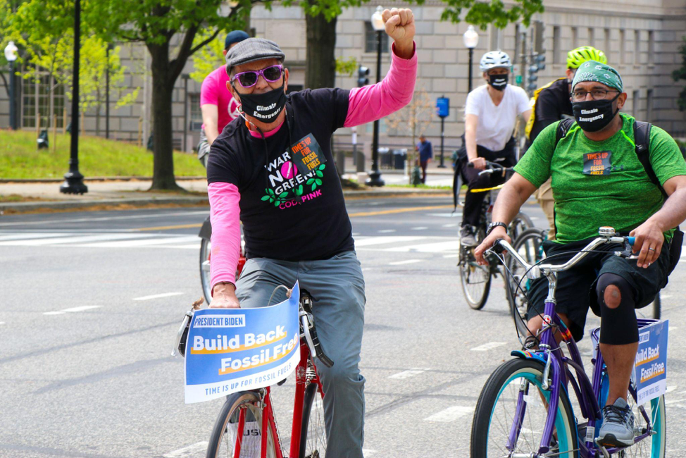 Activists join a bike caravan from Union Station in Washington, D.C. to the White House on Wednesday. Credit: Alicia Diaz
