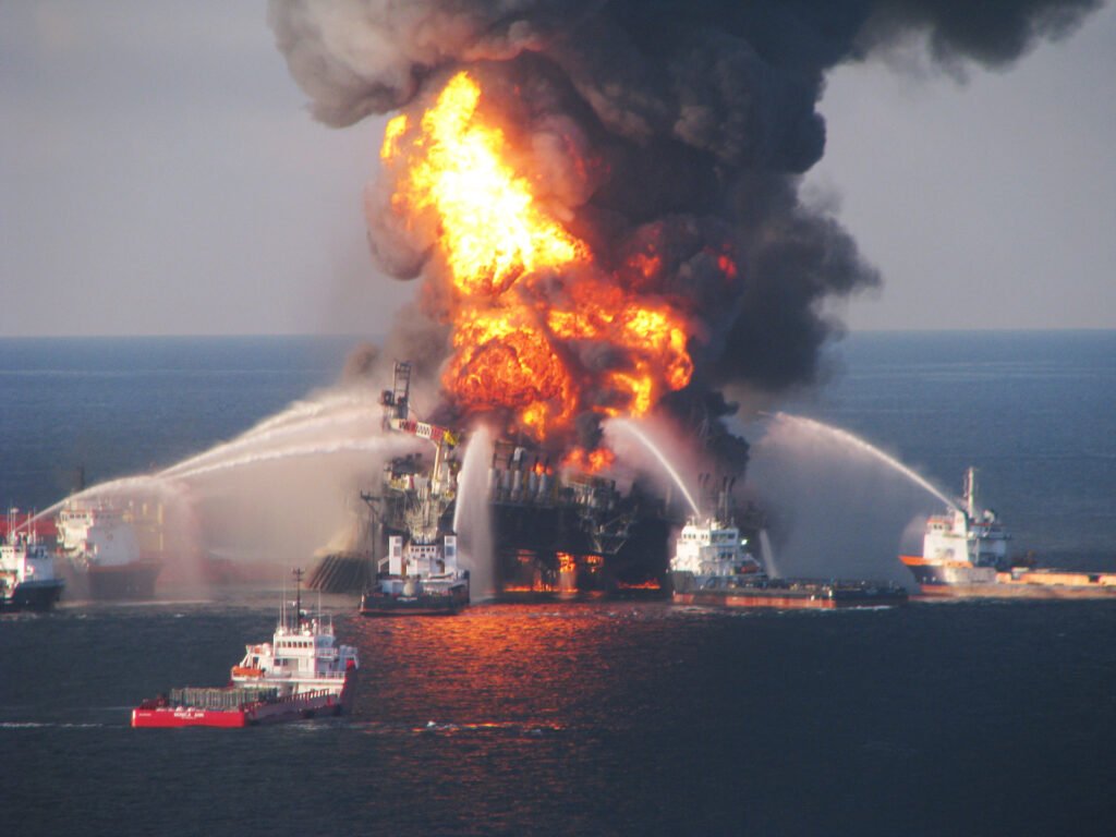 Fire boats battle a fire at the off shore oil rig Deepwater Horizon April 21, 2010 in the Gulf of Mexico off the coast of Louisiana. Credit: U.S. Coast Guard via Getty Images