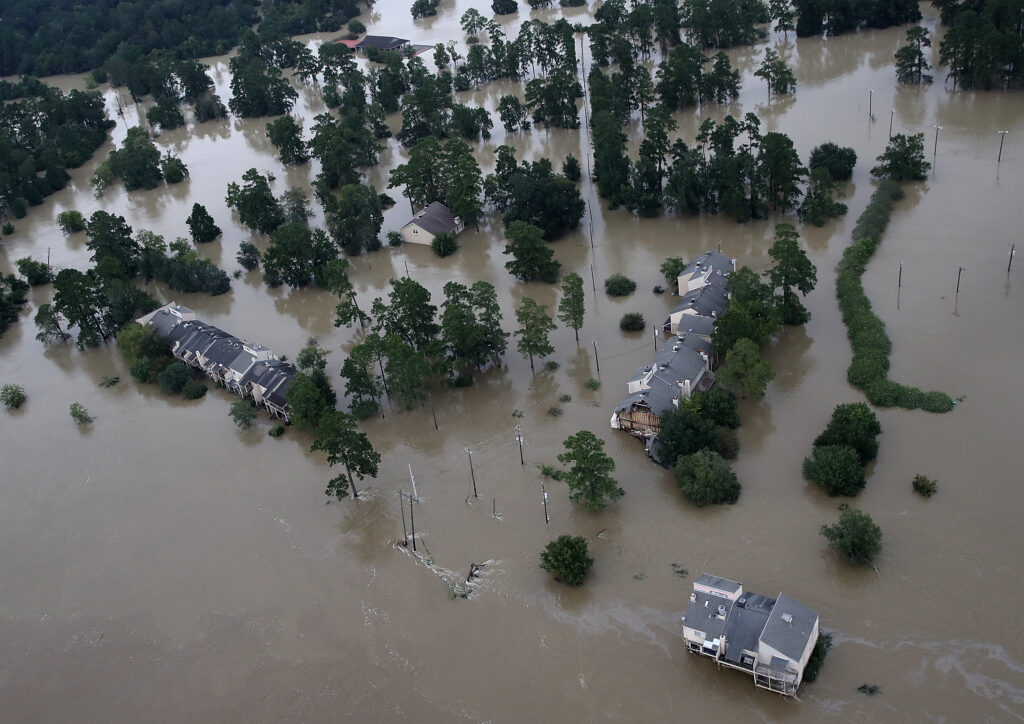 Flooded homes are shown near Lake Houston following Hurricane Harvey August 30, 2017 in Houston, Texas. Credit: Win McNamee/Getty Images