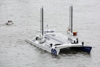 """The hydrogen-powered ship """"Energy Observer"""" is sailing on the Elbe in Germany. Credit: Bodo Marks/picture alliance via Getty Images"""