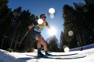 Jessie Diggins of the United States competes in the women's 10-kilometer freestyle at the 2021 FIS Nordic World Ski Championships in Bavaria, Germany. Credit: Sergei Bobylev/TASS via Getty Images