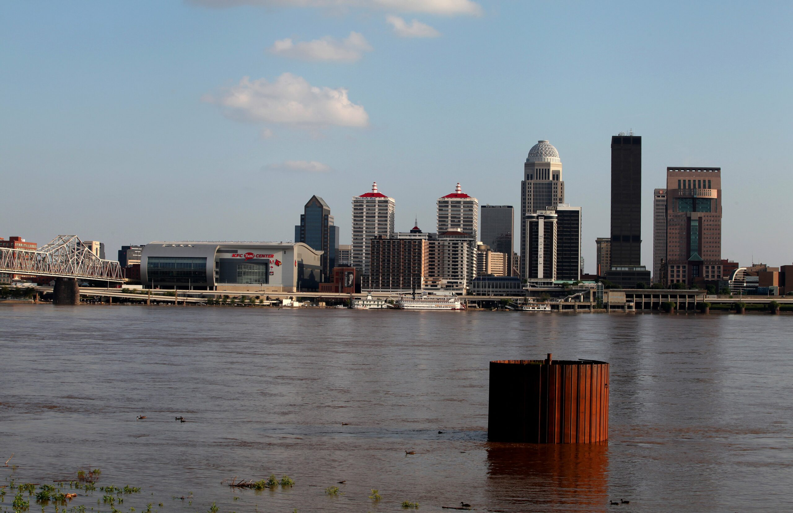 Louisville, Kentucky skyline as photographed from the Ohio River Greenway on July 16, 2015 in Clarksville, Indiana. Credit: Raymond Boyd/Getty Images