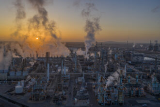 An aerial view shows Marathon Petroleum Corp's Los Angeles Refinery, the state's largest producer of gasoline, on April 22, 2020 in Carson, California. Credit: David McNew/Getty Images