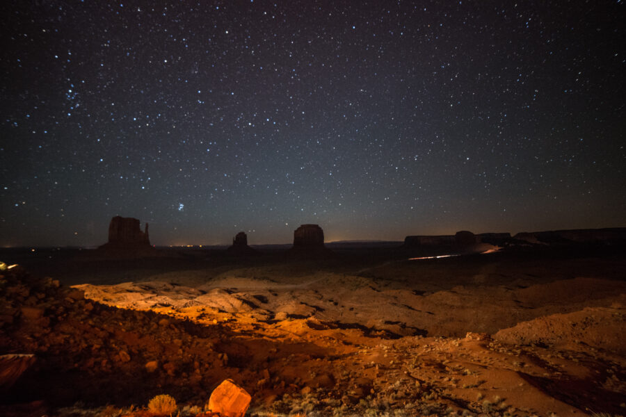 A starry night over the Mitten Buttes in Monument Valley, Arizona. Credit: Xavi Talleda/VWPics/Universal Images Group via Getty Images