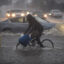 A bicyclist rides along a flooded street as a powerful storm moves across Southern California on Feb. 17, 2017 in Sun Valley, California. Credit: David McNew/Getty Images