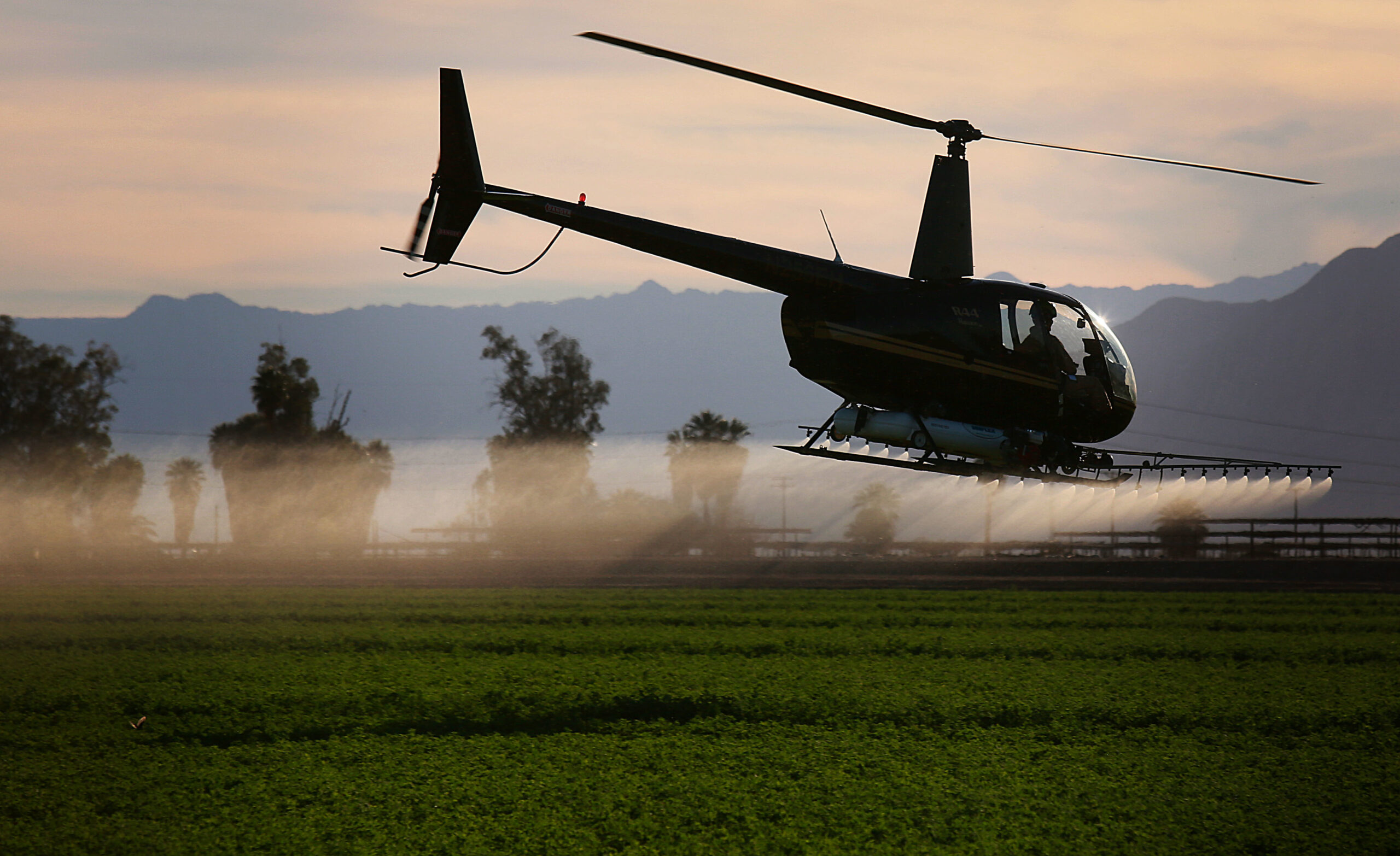 A helicopter sprays insecticide on a field outside of El Centro, California in the Imperial Valley on Wednesday, Feb. 11, 2015. Credit: Sandy Huffaker/Corbis via Getty Images