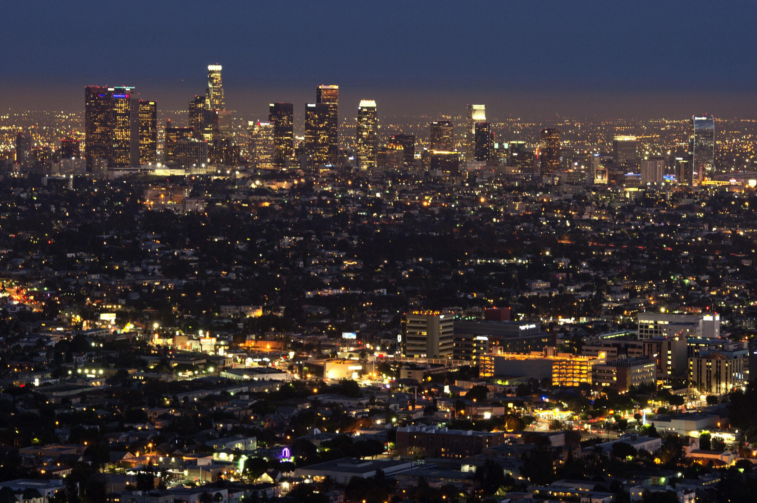 The Los Angeles skyline is seen during twilight on Aug. 21, 2013 in California. Credit: Joe Klamar/AFP via Getty Images