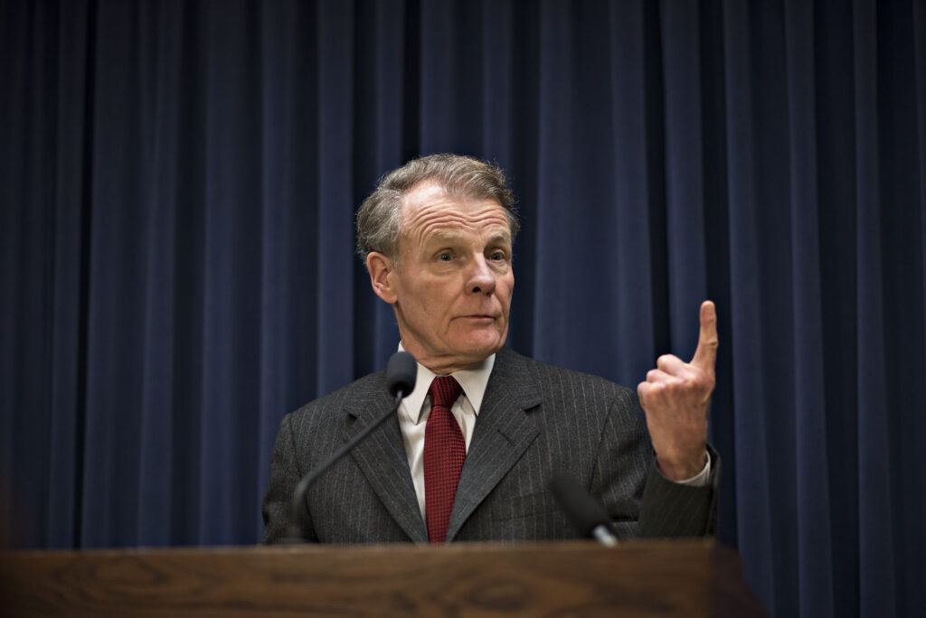 Michael Madigan, speaker of the Illinois House of Representatives and chairman of the Democratic Party of Illinois, speaks during a press conference at the State Capitol in Springfield, Illinois, U.S., on Wednesday, Feb. 18, 2015. Credit: Daniel Acker/Bloomberg via Getty Images