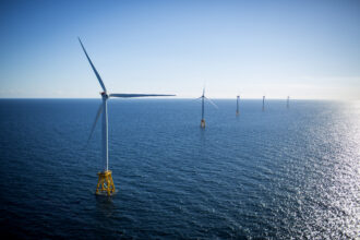The GE-Alstom Block Island Wind Farm stands in the water off Block Island, Rhode Island, on Wednesday, Sept, 14, 2016. Credit: Eric Thayer/Bloomberg via Getty Images