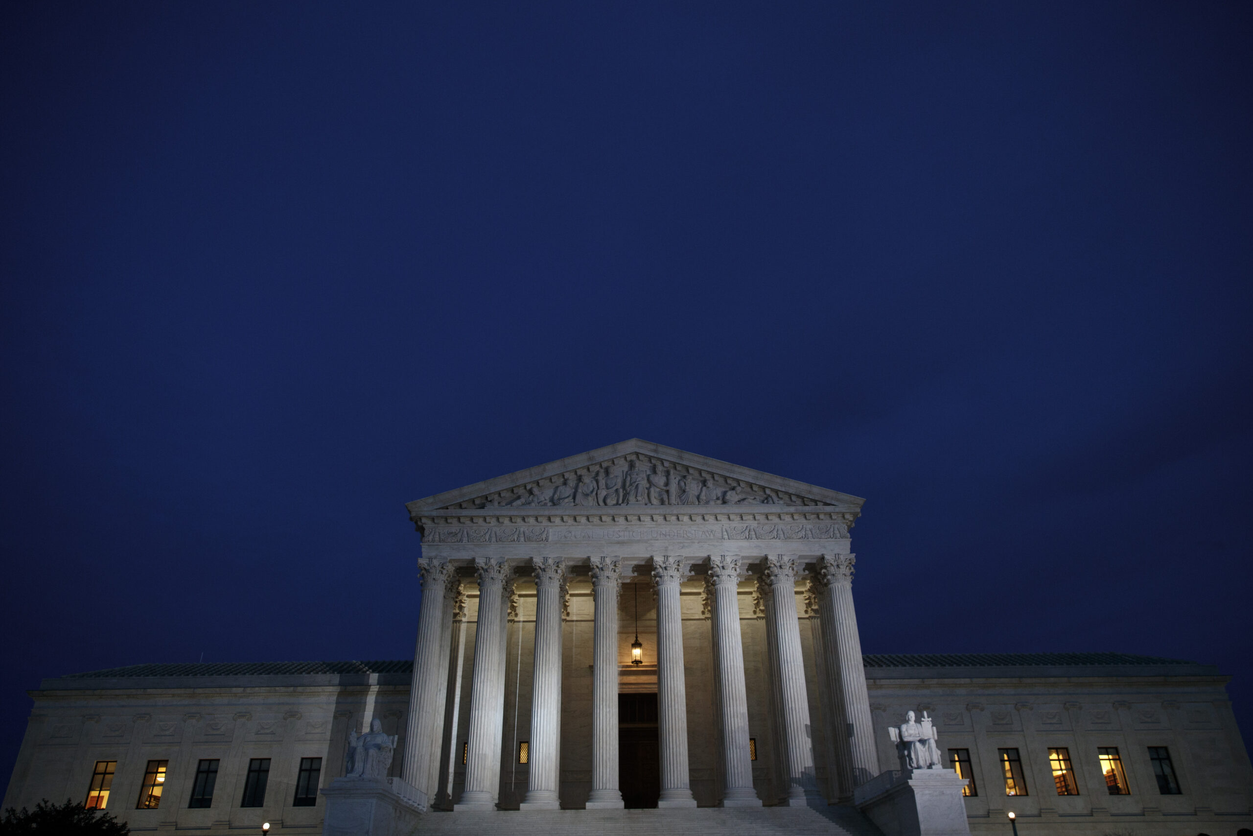 A view of the Supreme Court at dusk, January 31, 2017 in Washington, D.C. Credit: Drew Angerer/Getty Images