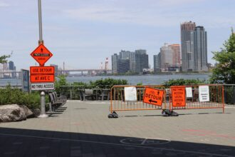 A detour sign is seen at East 20th Street and Avenue C in Lower Manhattan as the first phase of major construction is underway. Credit: Brahmjot Kaur/Inside Climate News