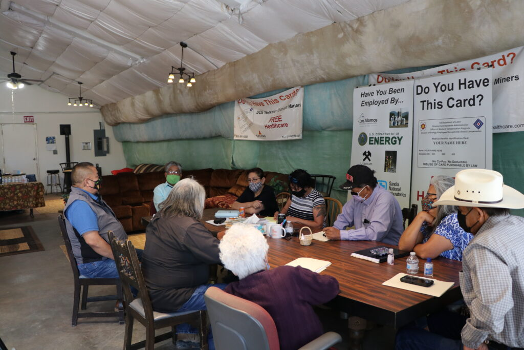 Phil Harrison and members of the Navajo Uranium Radiation Committee meeting with the Laguna Pueblo tribe to discuss lobbying plans to get Congress to extend the Radiation Exposure Compensation Act, which is set to expire in 2022. Credit: Cheyanne M. Daniels/MNS