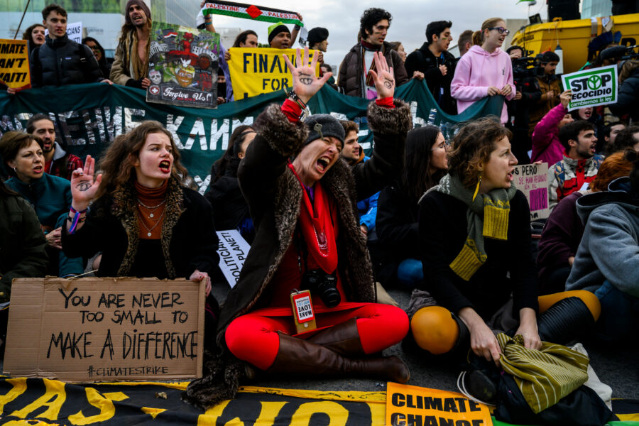 Activists protesting outside IFEMA, where UN Climate Change Conference COP25 is being held on Dec. 13, 2019. Credit: Marcos del Mazo/LightRocket via Getty Images