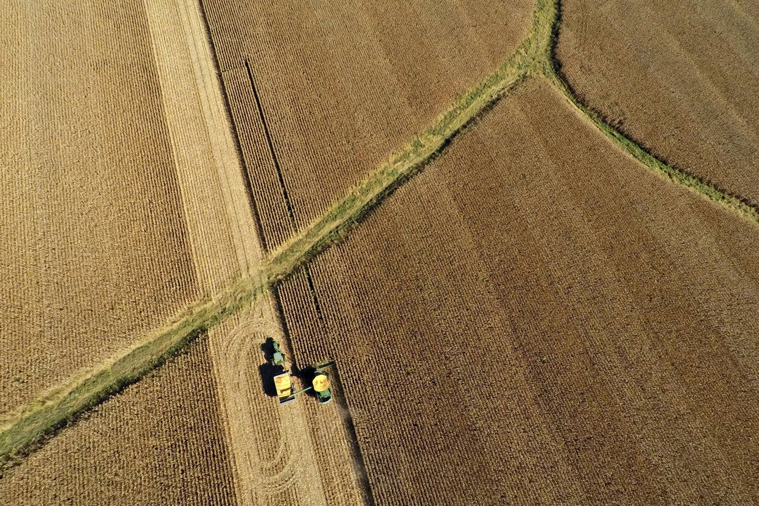 Corn is harvested in this aerial photograph taken above Malden, Illinois, on Wednesday, Sept. 30, 2015. Credit: Daniel Acker/Bloomberg via Getty Images