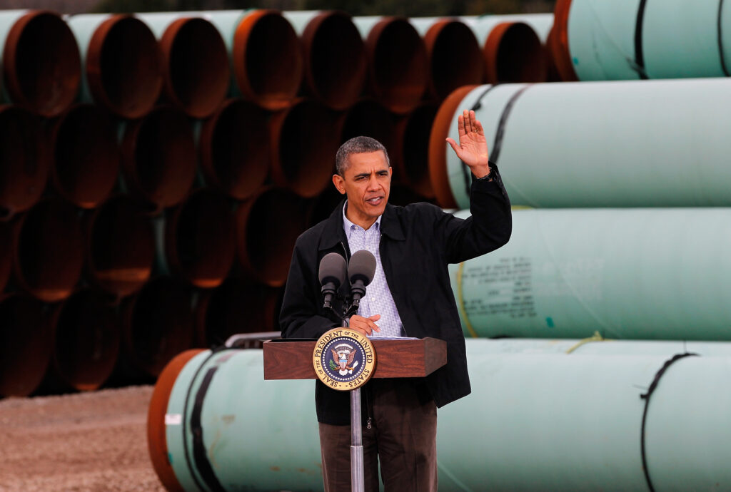 President Barack Obama speaks at the southern site of the Keystone XL pipeline on March 22, 2012 in Cushing, Oklahoma. Credit: Tom Pennington/Getty Images