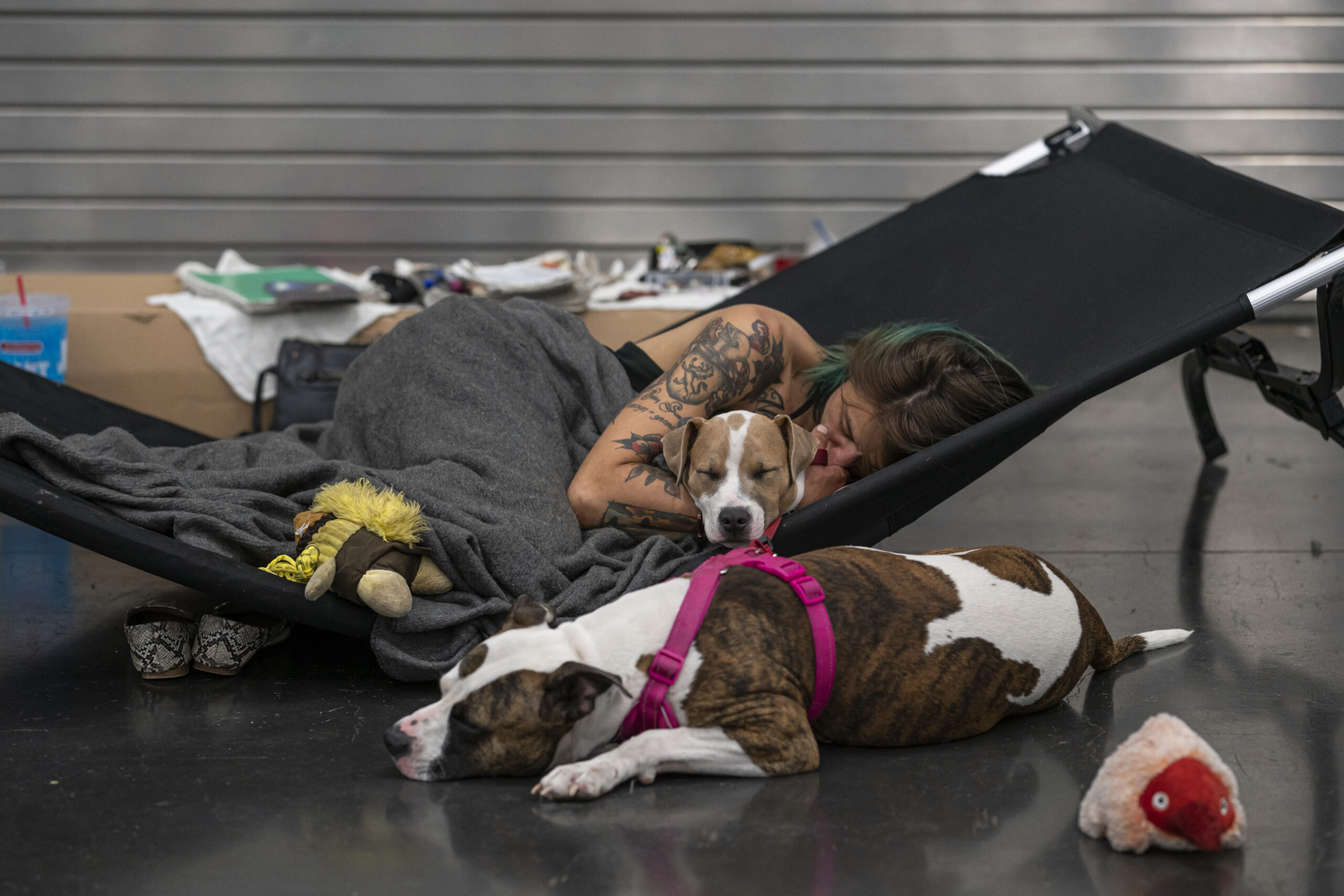 Austun Wilde rests with her two dogs at a cooling center in the Oregon Convention Center on June 27, 2021 in Portland, Oregon. Record breaking temperatures lingered over the Northwest during a historic heatwave this weekend. Credit: Nathan Howard/Getty Images