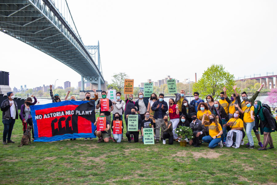 Rep. Alexandria Ocasio-Cortez poses with community members and environmental activists opposing the Astoria Repowering Project in Queens, New York. Courtesy of New York Public Interest Research Group
