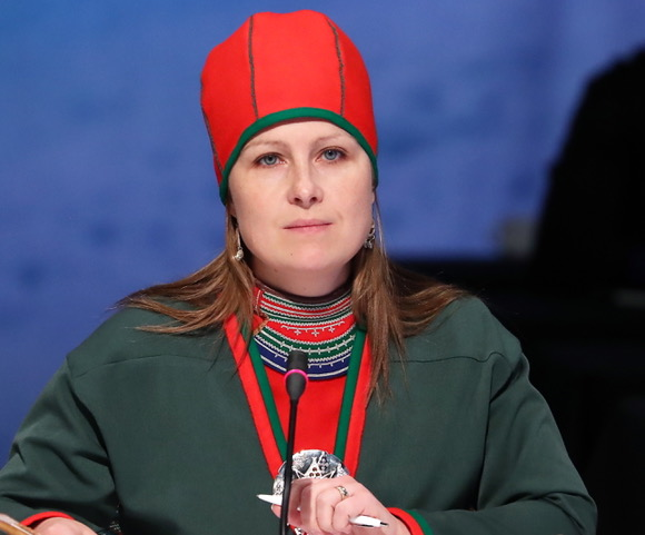 Asa Larsson-Blind, president of the Saami Council, at the 11th Arctic Council Ministerial Meeting. Credit: Anton Novoderezhkin/TASS via Getty Images