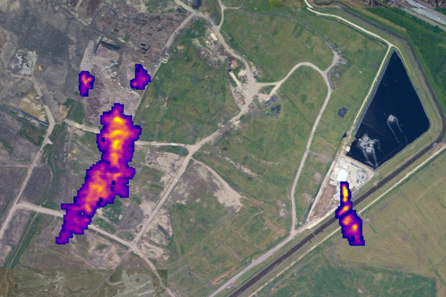 Remote sensing of methane from high altitude aircraft reveals plumes of the gas coming from the open face, on the left, and from a vent, on the right, at the River Birch landfill outside New Orleans in April 2021. Researchers from the University of Arizona, Arizona State University, NASA's Jet Propulsion Laboratory, and Carbon Mapper calculate the rate of methane venting at approximately 2,000 kilograms per hour, which would be 48 metric tons per day. Credit: University of Arizona, Arizona State University, NASA JPL and Carbon Mapper.