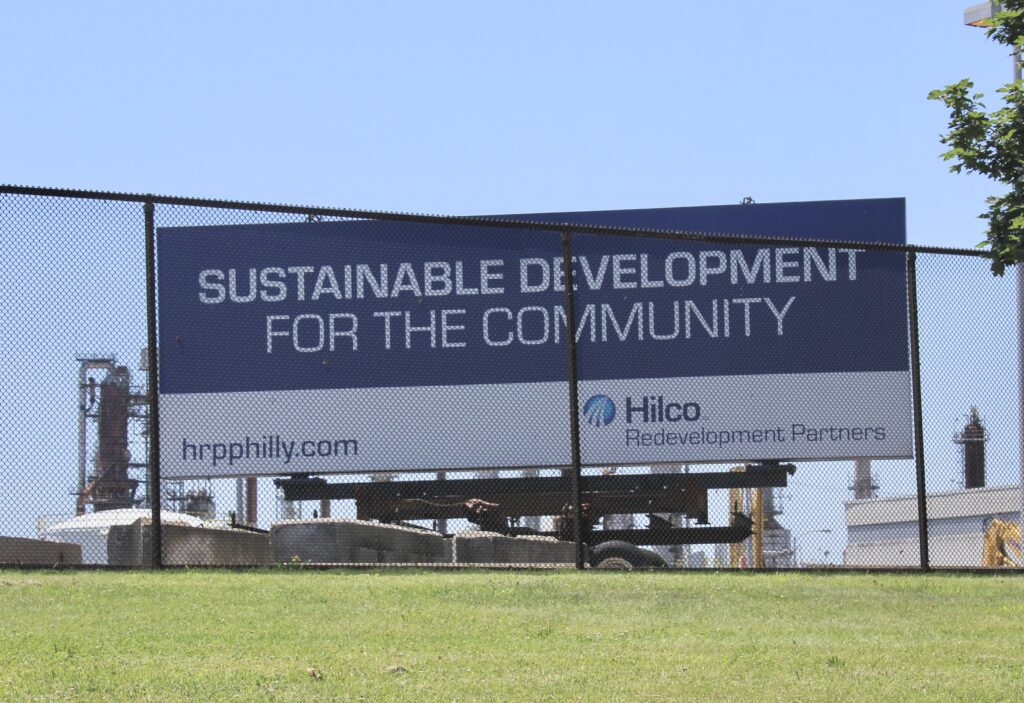 Hiclo's sign on the outside of the refinery. Credit: Daelin Brown/Inside Climate News
