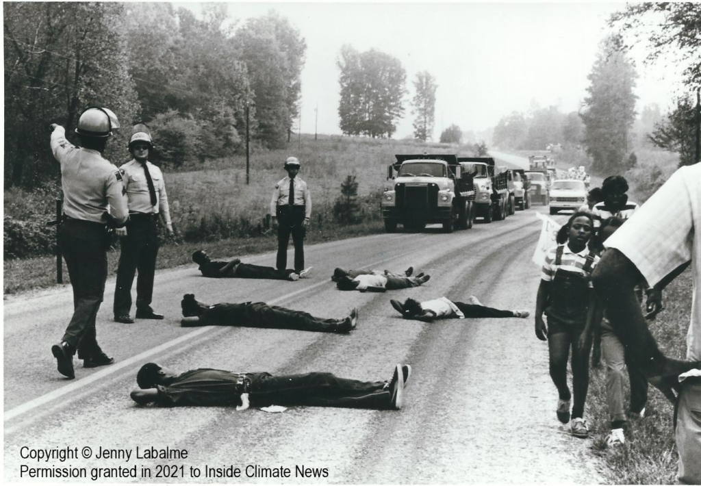 Black residents of Warren County, North Carolina lie down to prevent a toxic landfill from being built in 1982. Credit: Jenny Labalme