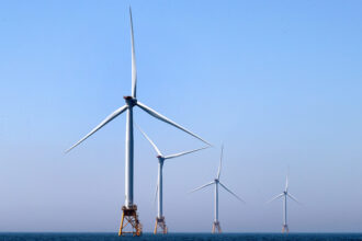 The Block Island Wind Farm off the coast of Block Island, Rhode Island, is pictured on June 13, 2017. Credit: David L. Ryan/The Boston Globe via Getty Images