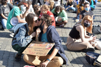 Students and activists take part in a demonstration organized by the Fridays For Future movement in the Piazza del Popolo on Oct. 9, 2020 in Rome, Italy. Credit: Simona Granati/Corbis via Getty Images