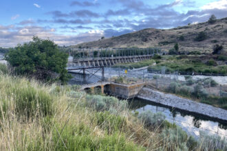 he Link River Dam helps hold water for irrigation in Upper Klamath Lake. Credit: Anne Marshall-Chalmers