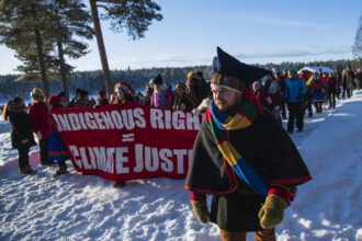 Members of the indigenous Saami community march during a Friday for Future protest in Jokkmokk, northern Sweden on Feb. 7, 2020. Credit: Jonathan Nackstrand/AFP via Getty Images
