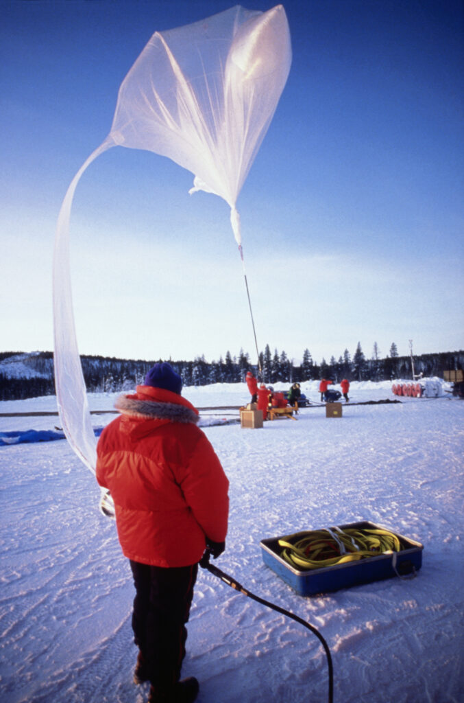 A scientist in Sweden prepares to launch a balloon to study the ozone layer. Credit: Shepard Sherbell/CORBIS SABA/Corbis via Getty Images