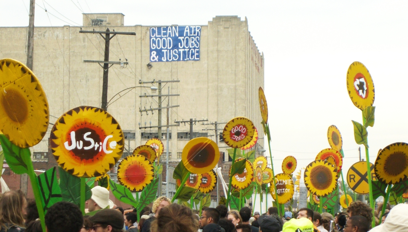 During an environmental justice march in Detroit. Credit: Marcus Johnstone