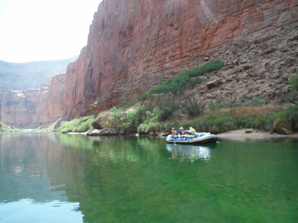 Floating the Colorado River through Grand Canyon National Park offers a window into deep time and recent history. The needs of recreational boaters, wildlife, the canyon ecology and water users is part of an ongoing conversation that has been made more contentious because of drought, water shortages and global warming. Credit: Judy Fahys/Inside Climate News
