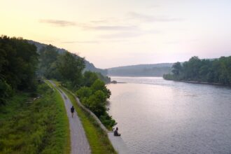 View from Pennsylvania to New Jersey over the Delaware River. Credit: Jumping Rocks/Education Images/Universal Images Group via Getty Images.