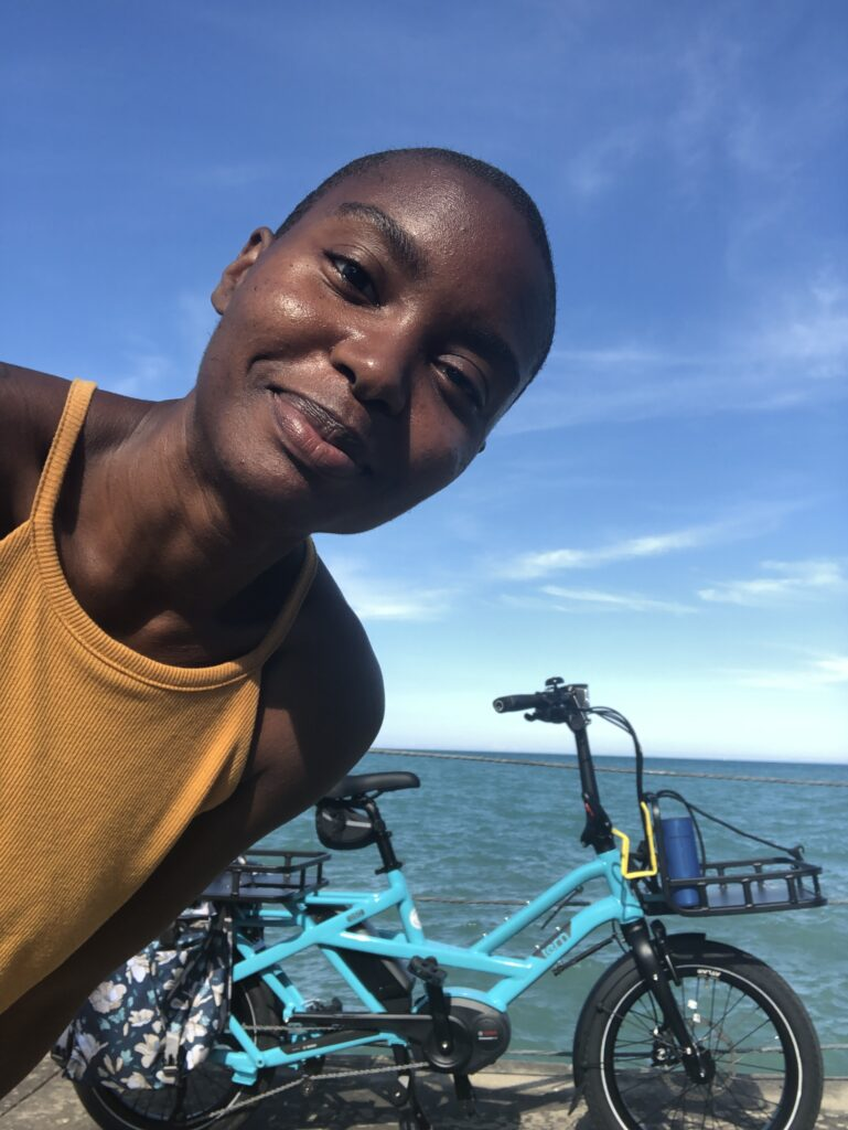 Sustainable transportation advocate Courtney Cobbs says her e-bike is a real conversation starter with her fellow Chicagoans. Photo Courtesy of Courtney Cobbs