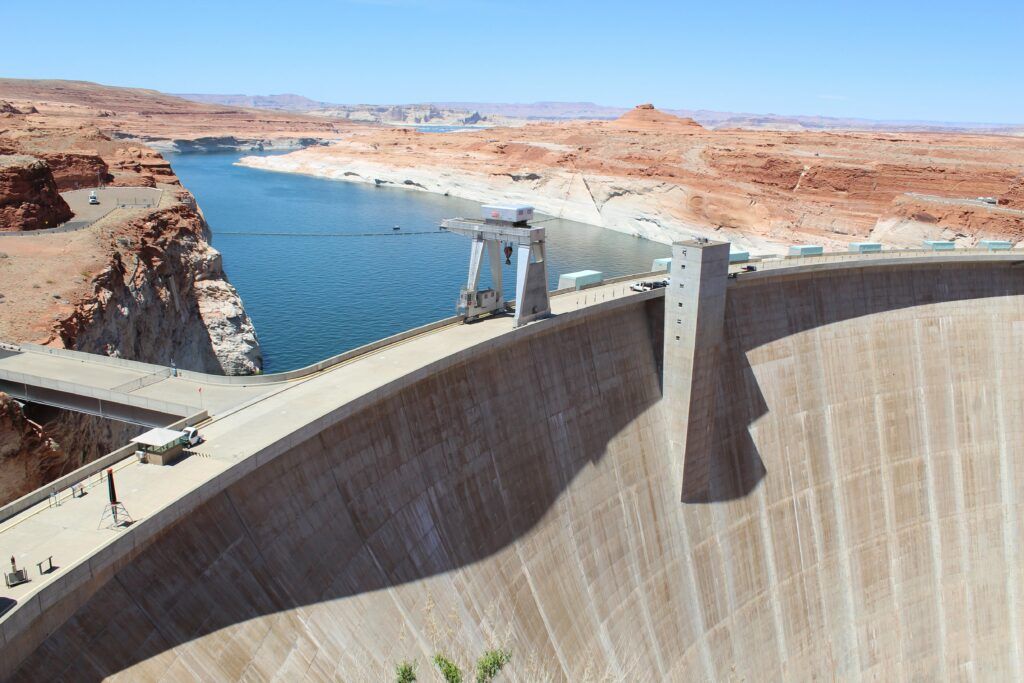 Glen Canyon Dam holds back Lake Powell. The dam's hydroelectric generation diminishes as the reservoir declines. Credit: Luke Runyon/KUNC