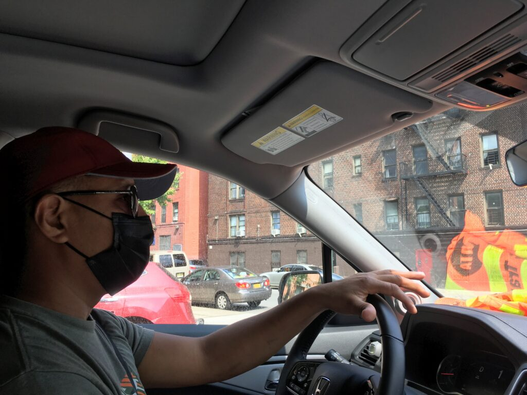 Francisco Casarrubias, a father of three and a maintenance worker at a school, volunteered to drive a temperature and humidity sensor around New York's South Bronx neighborhood on July 24, 2021 to help measure the unequal burden of extreme heat in the city. Credit: Delger Erdenesanaa