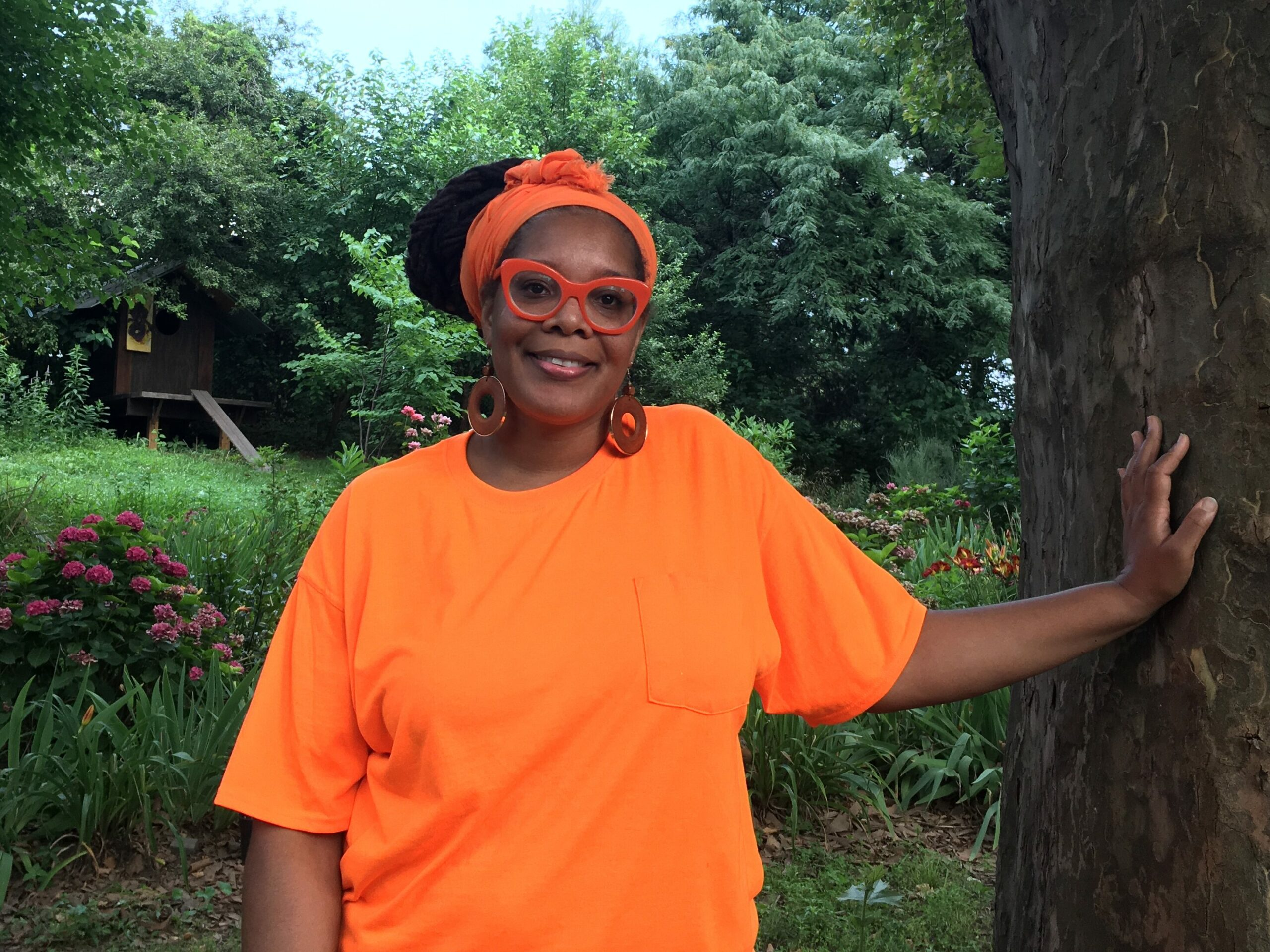 Dr. Melissa Barber, a co-founder of the community-based environmental justice organization South Bronx Unite, in one of the few green spaces in New York City's formerly redlined South Bronx neighborhood on July 24, 2021. Credit: Delger Erdenesanaa