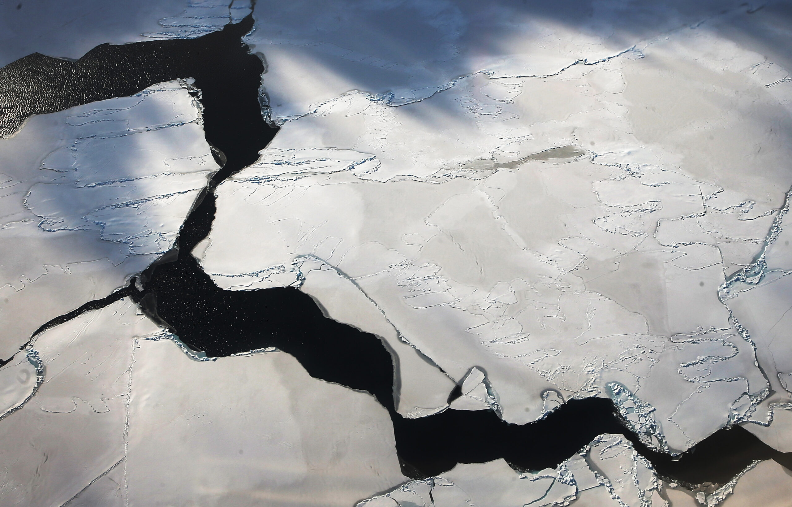 Ice floats near the coast of West Antarctica viewed from a window of a NASA Operation IceBridge airplane on Oct. 27, 2016 in-flight over Antarctica. Credit: Mario Tama/Getty Images
