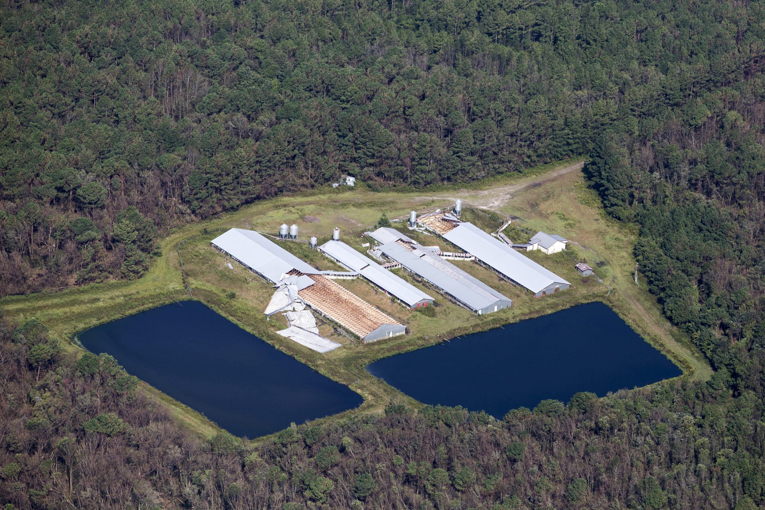 A damaged hog farm stands in this aerial photograph taken above Cypress Creek, North Carolina, U.S., on Friday, Sept. 21, 2018 in the wake of HurricaneFlorence. Credit: Alex Wroblewski/Bloomberg via Getty Images