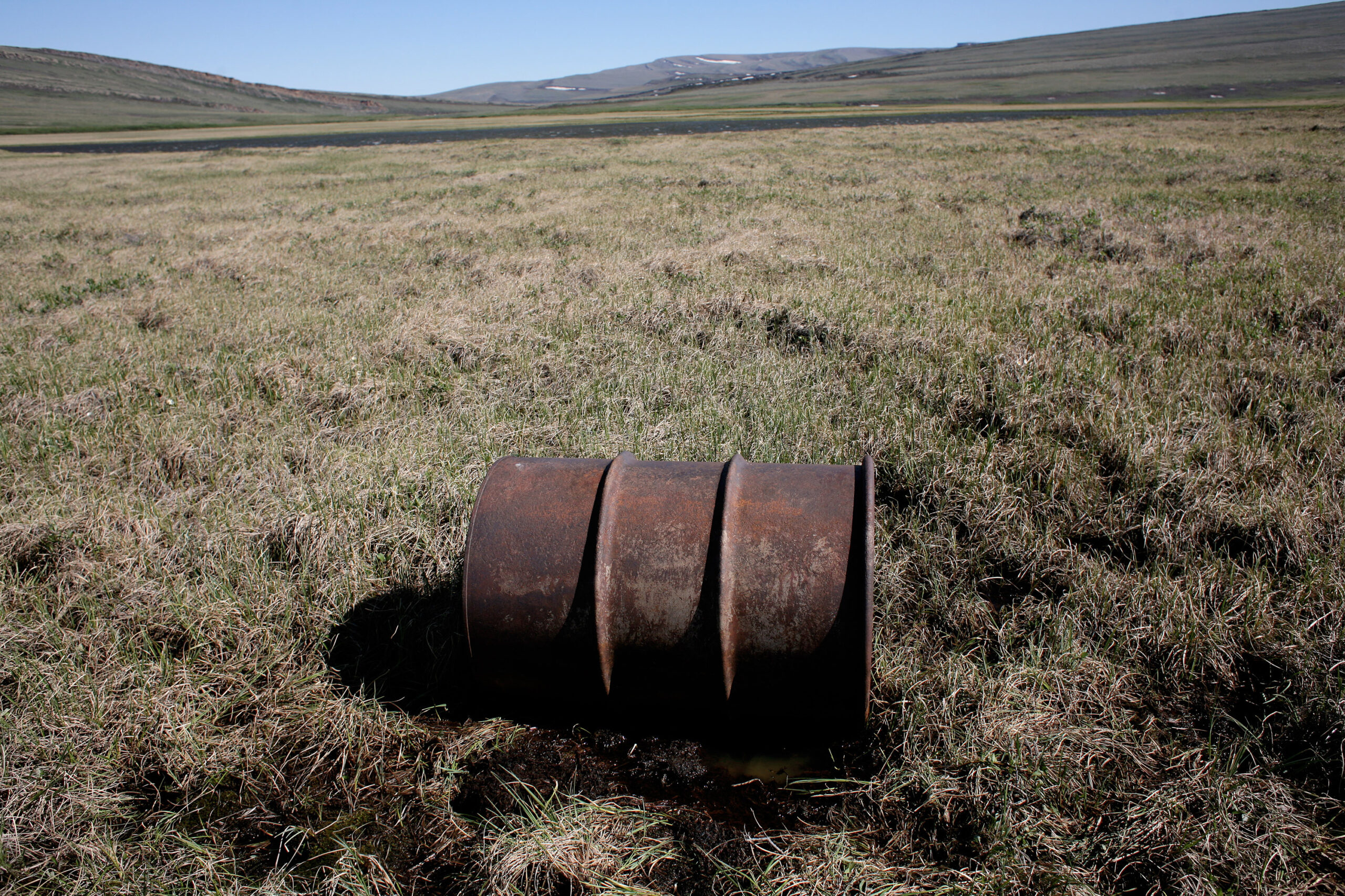 A lone oil barrell in the tundra near the National Petroleum Reserve. Credit: Andrew Lichtenstein/Corbis via Getty Images