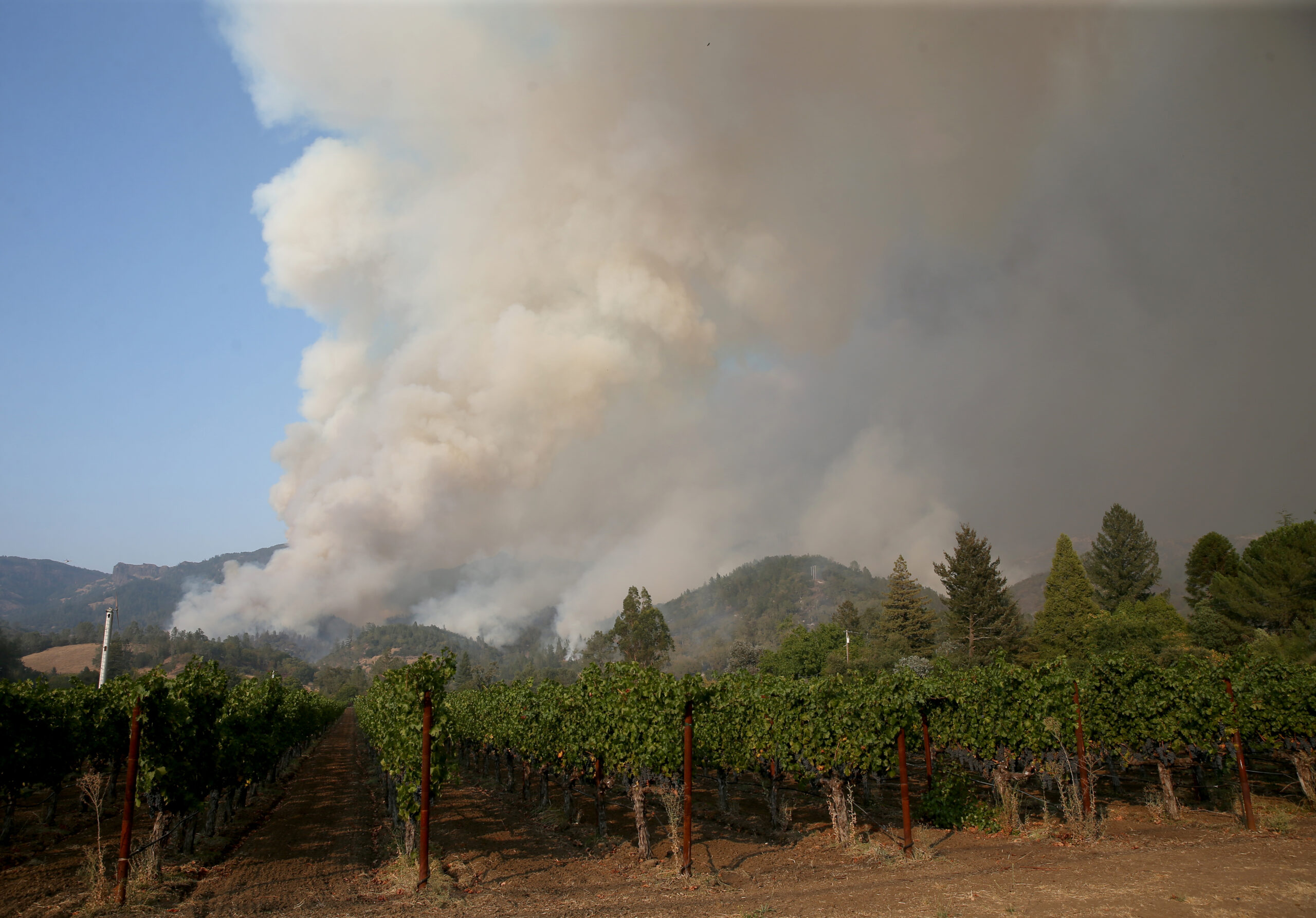 The Glass Fire burns near the Jericho Canyon Vineyard and Winery about a mile out of downtown Calistoga, California, on Wednesday, Sept. 30, 2020. Credit: Jane Tyska/Digital First Media/East Bay Times via Getty Images